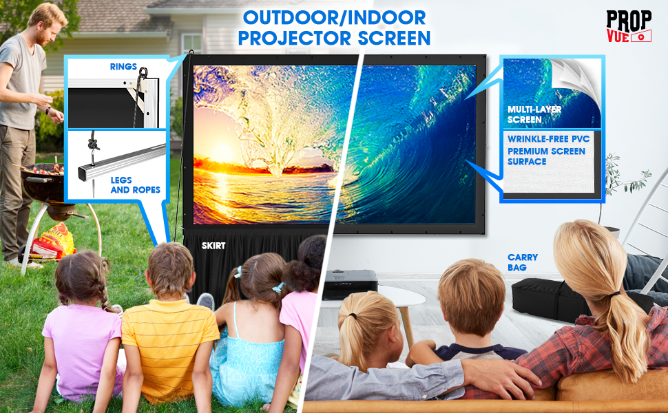 Projector Screen with Stand or Wall Mount - 2 in 1 usage for home or outdoor backyard movie nights