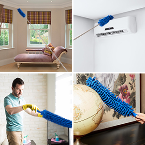 Long and flexible dust collector-perfect for ceiling fans or wall tops