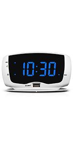 Bedroom Alarm Clock Radio with Double USB Port
