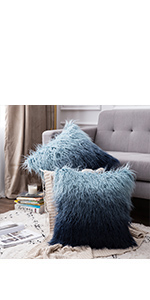 faux fur pillow covers blue pillows fluffy soft shaggy