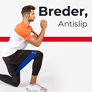 Glute resistance bands being used by man doing lunge