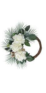 Artificial White Hydrangea Wreath