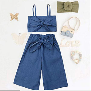 baby girl stappy crop top wide leg jeans pant outfits