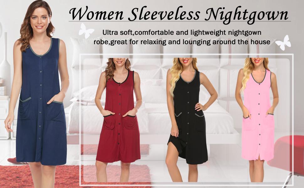 women sleeveless nightgown