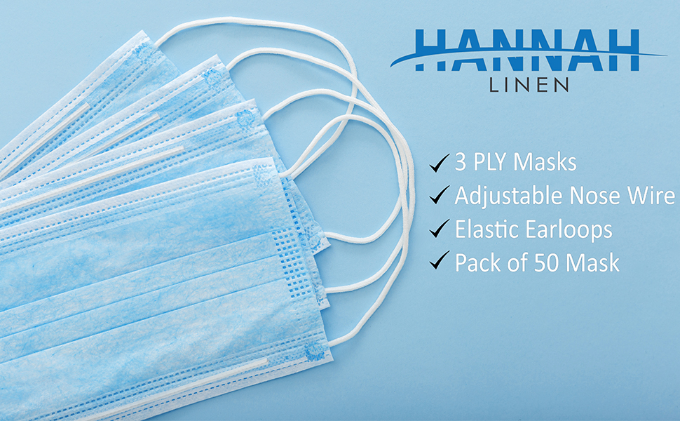 disposable masks face mask 50 piece blue color protection dust germs