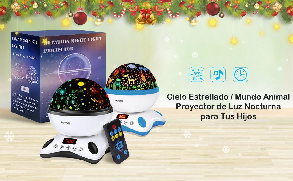 Moredig Lámpara Proyector Estrellas, 360° Rotación Músic Lampara ...