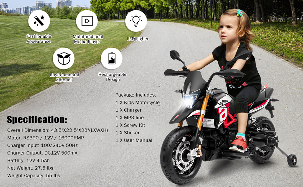 specification for this ride on motorcycle