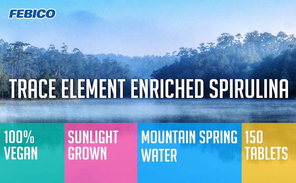 febico iron spirulina tablet vegan natural mountain spring water sunlight grown clean pure