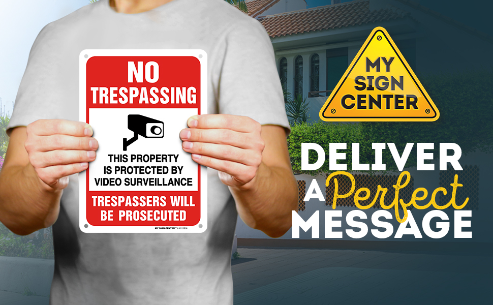 no trespassing video surveillance sign survalliance signs posted video recording in progress sign
