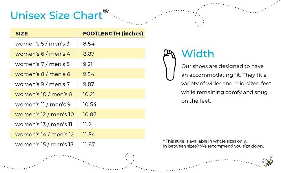 joybees unisex size chart