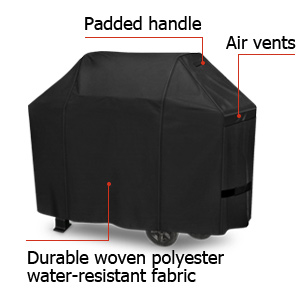 NAPOLEON Premium Grill Cover Water-Resistant Fabric Cart-Style Air Vents Black