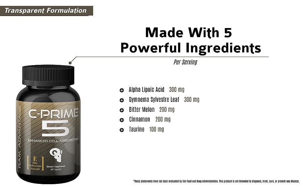 c-prime 5 ram advantage weight loss fatburner fat burner glucose disposal nutrient disposal agent