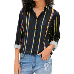 Aleumdr Damen Bluse mit Knopfleiste