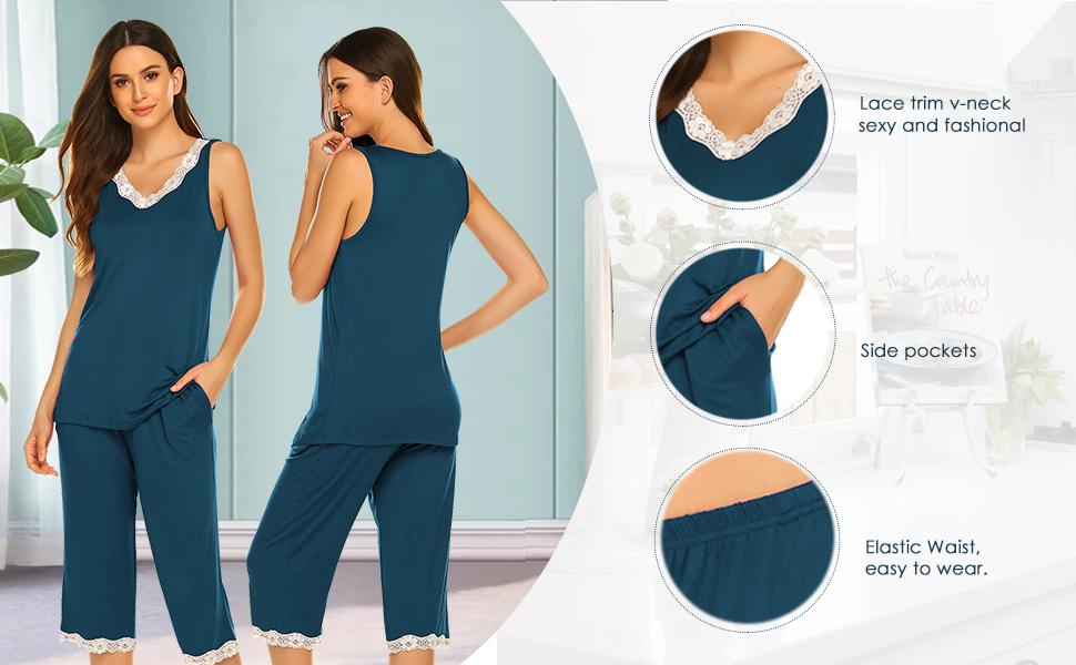Lace Trim V-Neck Pjs Sets Sleepwear