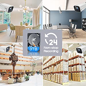 4K PoE Security Camera System, 4pcs 8MP IP Camera Surveillance System Outdoor with 3TB Hard Drive