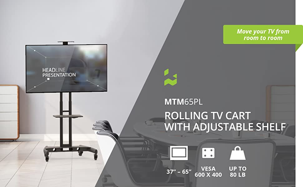 kanto mtm65pl mobile tv mount with adjustable shelf supports up to 65 inch tvs weighing up to 80 lb