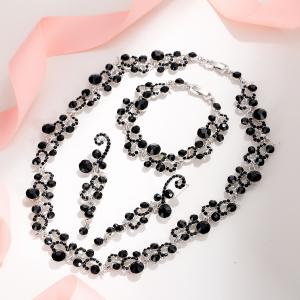Black crystal prom jewelry set