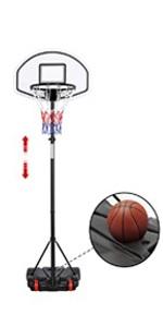 6.4-8.2 ft portable basketball hoop adjustable height (Black)