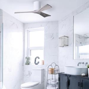 three blade flush mount ceiling fan, bathroom, white, barnwood