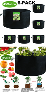 12-Pack 45 Gallon Non woven fabric Plant Grow Bags