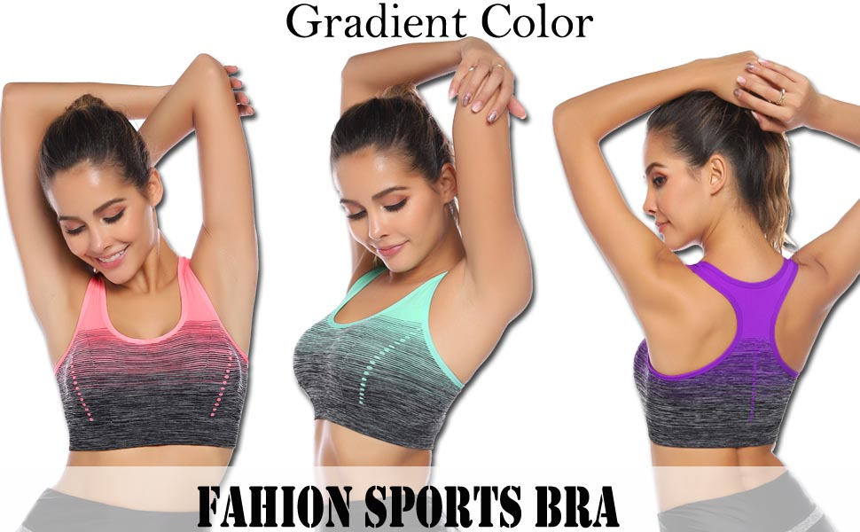 Sykooria 1-3 Pack Womens Sports Bra Racerback Tank Workout Tops Medium Impact Zip Front Active Fitness Yoga Bras