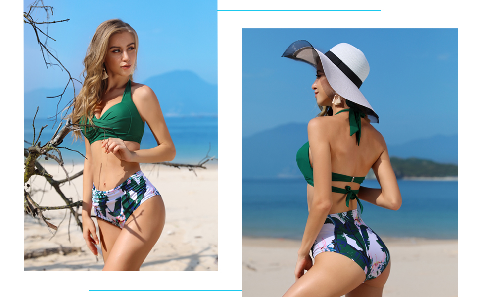 Tempt Me Women Vintage Swimsuit Two Piece Retro Halter Ruched High Waist Bikini