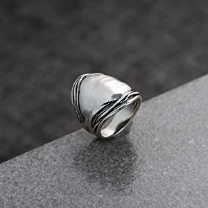 Paz Creations .925 Sterling Silver Hammered Dome/Saddle Ring
