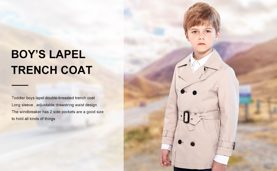 SOLOCOTE Kids Boys Girls Beige Trench Coat Double-Breasted with Belt Classic Cotton Windbreaker Overcoat Size 5-12Y