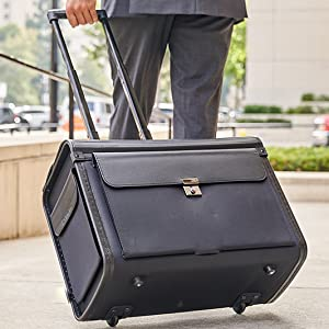rolling briefcase lawyer pilot teacher carry all locking wheeled work bag catalog case carry on