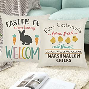 Truck Rabbit Happy Easter Throw Pillow Cover