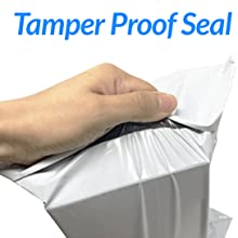 tamper proof poly mailers for shipping, white, unpadded, strong adhesive strip