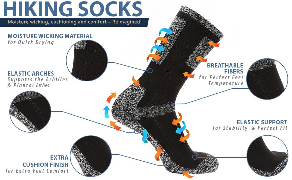 HIKING SOCKS MOISTURE WICKING OUTDOOR SOCKS EXTRA CUSHION ELASTIC ARCH SUPPORT 5 PACKS CREW SOCKS