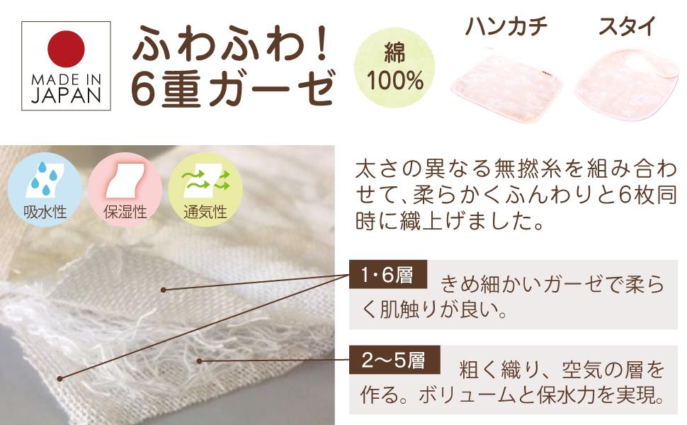 綿100%でふわふわ!6重ガーゼのハンカチとスタイ