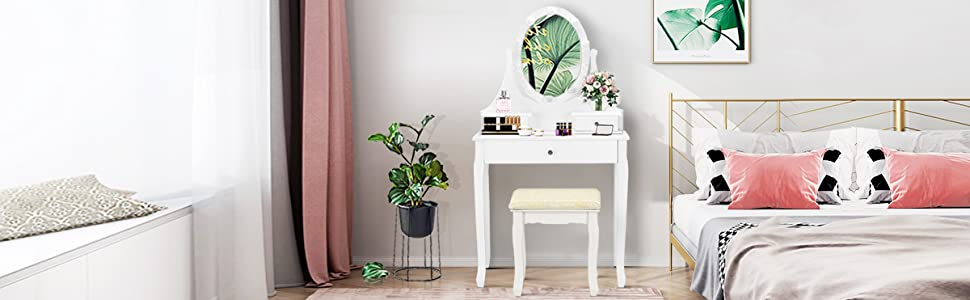 Vanity Set with 10 LED Lights Mirror and Cushioned Stool