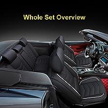 black with red leather car seat cover Acura Accord civic ridgeline insight Elantra Tucson tacoma crv