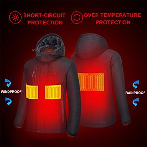 DEWBU Heated/Jacket/with/7.4V/Battery Outdoor Winter Electric Heating Hoodie Coat