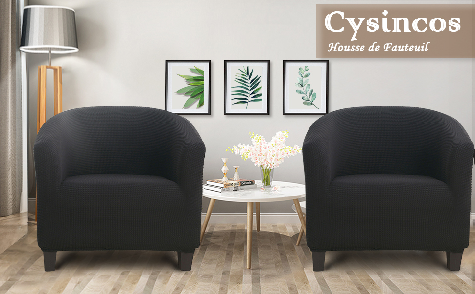 Cysincos Housse de Fauteuil Chesterfield Housse de Canap/é Tub Chair Extensible Housse de Fauteuil Cabriolet Bi/élastique Mod/èle Tullsta Motif Fleurs