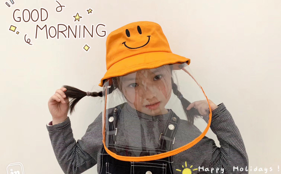 HONGKIT Protective Hat with Shield,Fedora Hat for Kids Small Size