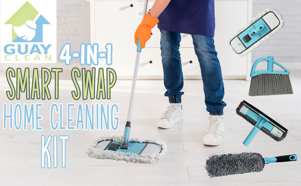 Guay Clean 4-in-1 Smart Swap Home Cleaning Kit Mop Broom Duster Window Cleaner Squeegee Wiper