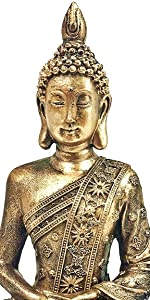 Bellaa Buddha Statue Sitting Dhyana Mudra Meditating 8 inch