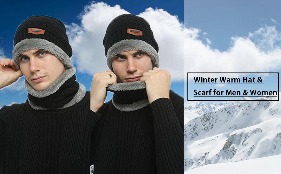 Bequemer Laden 2 St/ücke Winter Beanie M/ütze Schal Set Wolle Warme Strickm/ütze Dicke Fleecefutter Winterm/ütze /& Schal f/ür Herren und Damen
