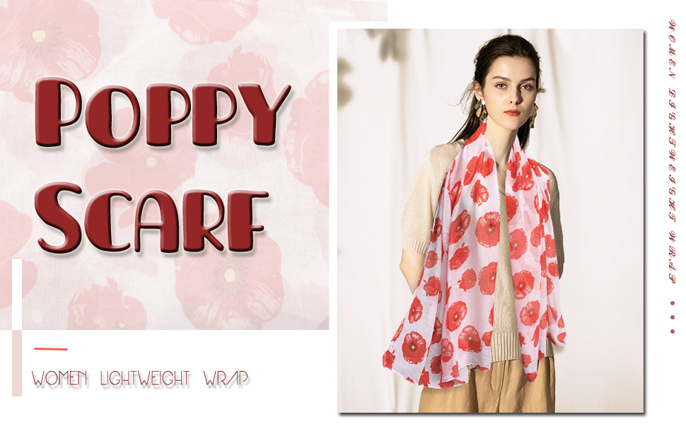 Ladies Womens Girls Fashion Scarf Black /& Red Poppy Print Brand New