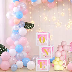 Amazon Com Tao Ge First Birthday Decoration For Baby Girl Transparent Balloon Boxes With One Letters For Baby Party Decoration Or Photoshoot Prop Toys Games