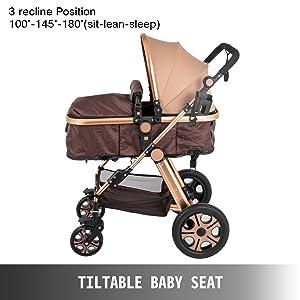4 - VEVOR Baby Stroller 2 In 1 Stroller Bassinet Stroller Foldable Anti-Shock Newborn Stroller Baby Carriage Stroller Luxury Baby Trend Stroller Stroller For Baby Pram Stroller