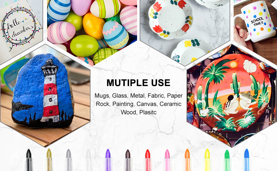 Acrylic Paint Pens Markers Set 12 Colors Extra Fine Tips 0.7mm Rocks Painting Ceramic Glass Wood
