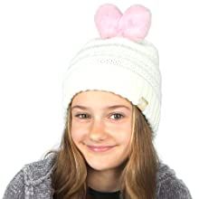 MIRMARU Unique Knitted Cute Winter Beanie Hats For Girls