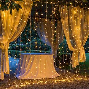 遥控300 LED窗帘灯串