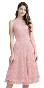 Women's Vintage Lace Boat Neck Sleeveless Cocktail Wedding Party Dress