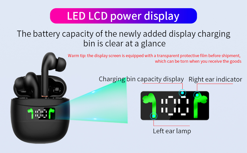 wireless earbuds with led lcd display