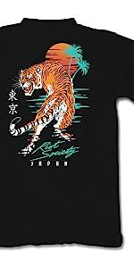 Riot Society Japanese Tiger Sunset Short Sleeve T Shirt